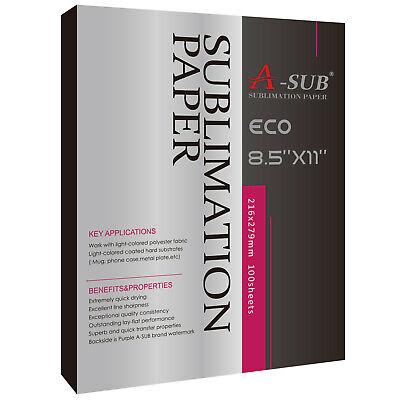 A-sub 125g Dye Sublimation Ink Heat Transfer Paper 8.5x11 Inch Inkjet 100 Sheets
