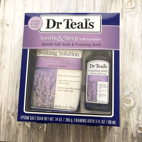 Dr Teal's Lavender Epsom Salt & Foaming Bath Oil Sampler Gif