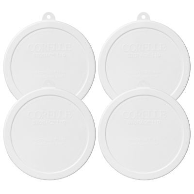 Corelle 418-PC 6-1/4in White Round Plastic Lid Cover 4 Pack New for 18oz Cereal - Corelle Plastic Cover