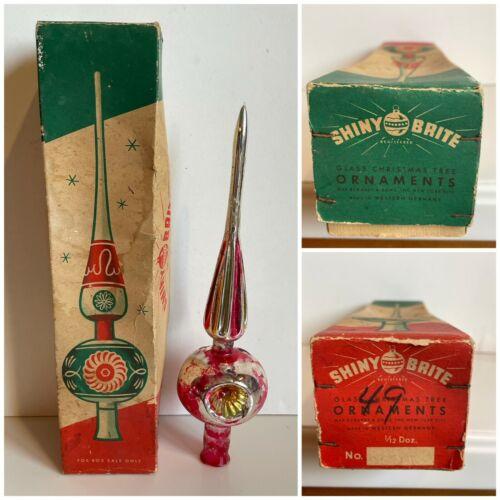 Vintage SHINY BRITE triple indent tree topper / WGERMANY / Original stapled box