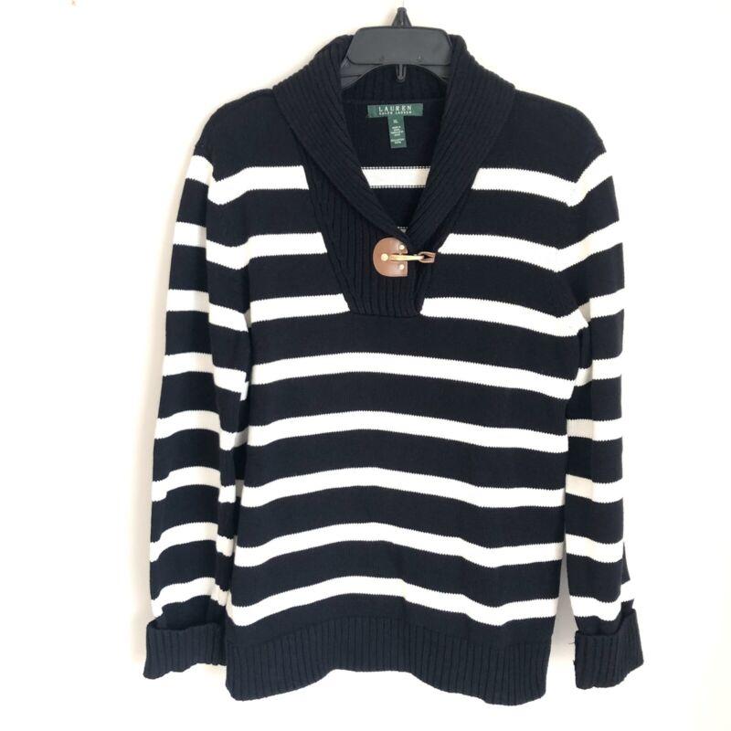 Lauren Ralph Lauren Sz XL Long Sleeve Black Striped Shawl Collar Sweater