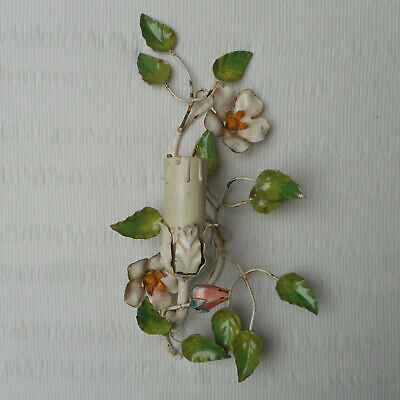 VINTAGE ITALIAN TOLE FLORAL WALL LAMP SCONCE LIGHT FLOWERS SHABBY CHIC ANTIQUE