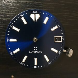 Seiko Custom 28.5 Dark Blue Sunburst Dial Applied Indices w/Date 4:00 Mod Part