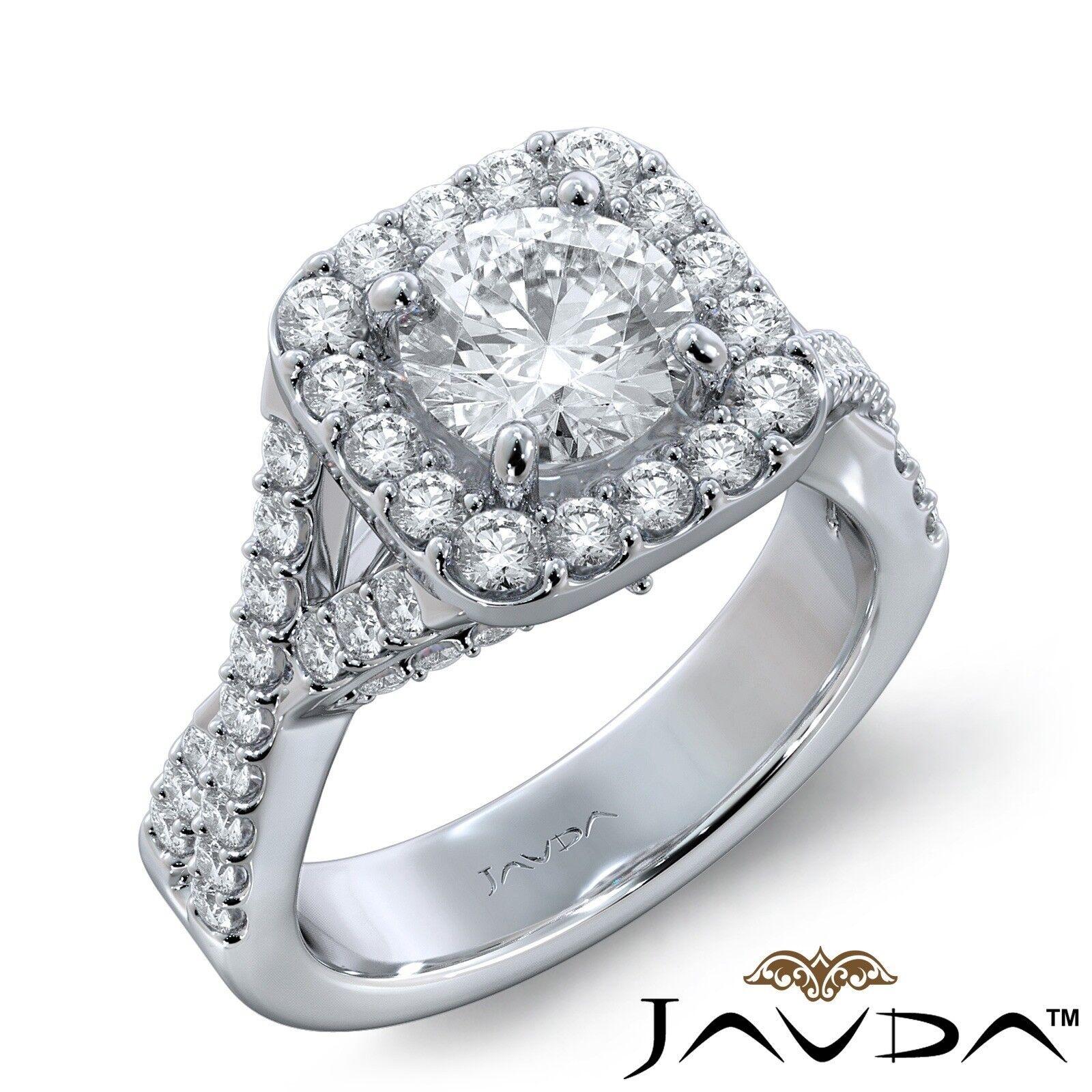 2.8ct Cross Shank Halo Bridge Round Diamond Engagement Ring GIA E-VS1 White Gold
