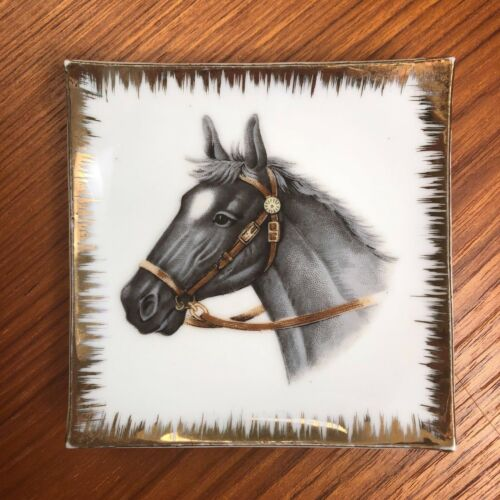VTG Bradley Exclusives Horse Small Square Wall Plate Trinket Jewelry Soap Dish