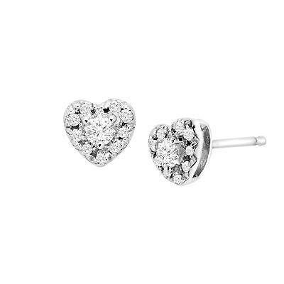 1/4 ct Diamond Heart Halo Stud Earrings in Sterling Silver