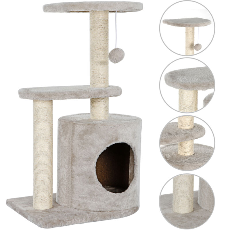 "28.7"" Cat Tree Activity Tower Pet Kitty Furniture with Cave Scratching Posts"