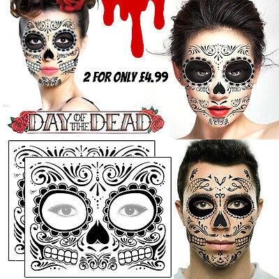 Day of the Dead Face Temporary Tattoos Transfers Mask Halloween Sugar Skull - x2](Halloween Face Transfers)