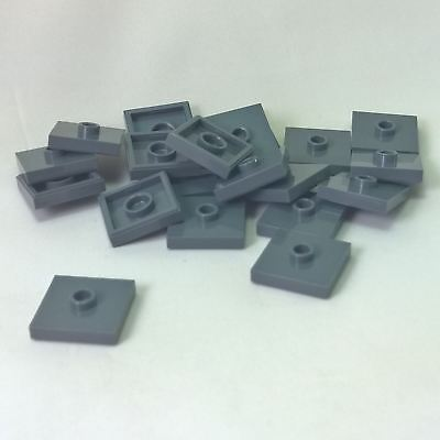 20 NEW LEGO Plate, Modified 2 x 2 and 1 Stud in Center Dark Bluish Gray