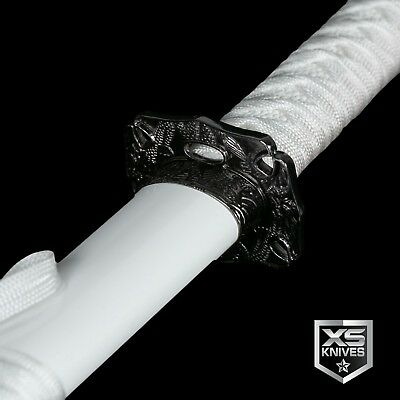 "40"" Dragon WHITE Katana Sword Samurai Ninja CARBON STEEL with DISPLAY STAND"
