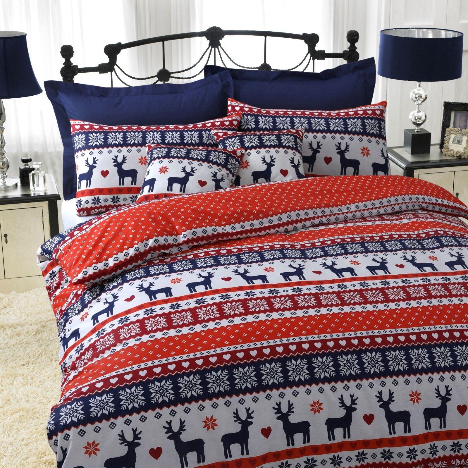 Nordic Christmas Reindeer Navy Blue White 100 Brushed Single Duvet Cover Duvet Covers Bedding Sets Home Garden Worldenergy Ae