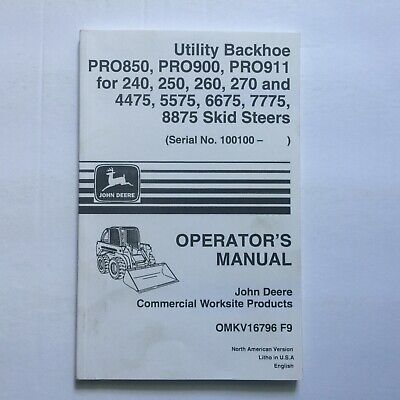 John Deere Utility Backhoe For 240 250 260 270 4475 5575 Skid Steers Manual