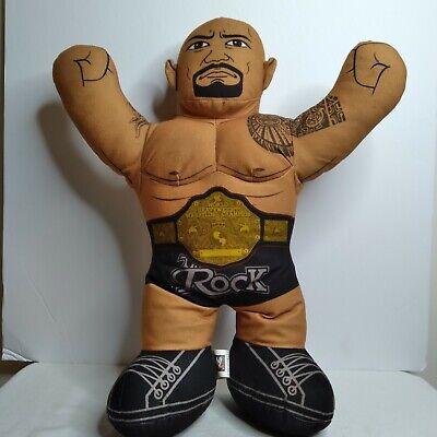 "WWE The Rock Plush Talking Wrestling Doll 2012 Brawlin Buddies 16"" stuffed toy"