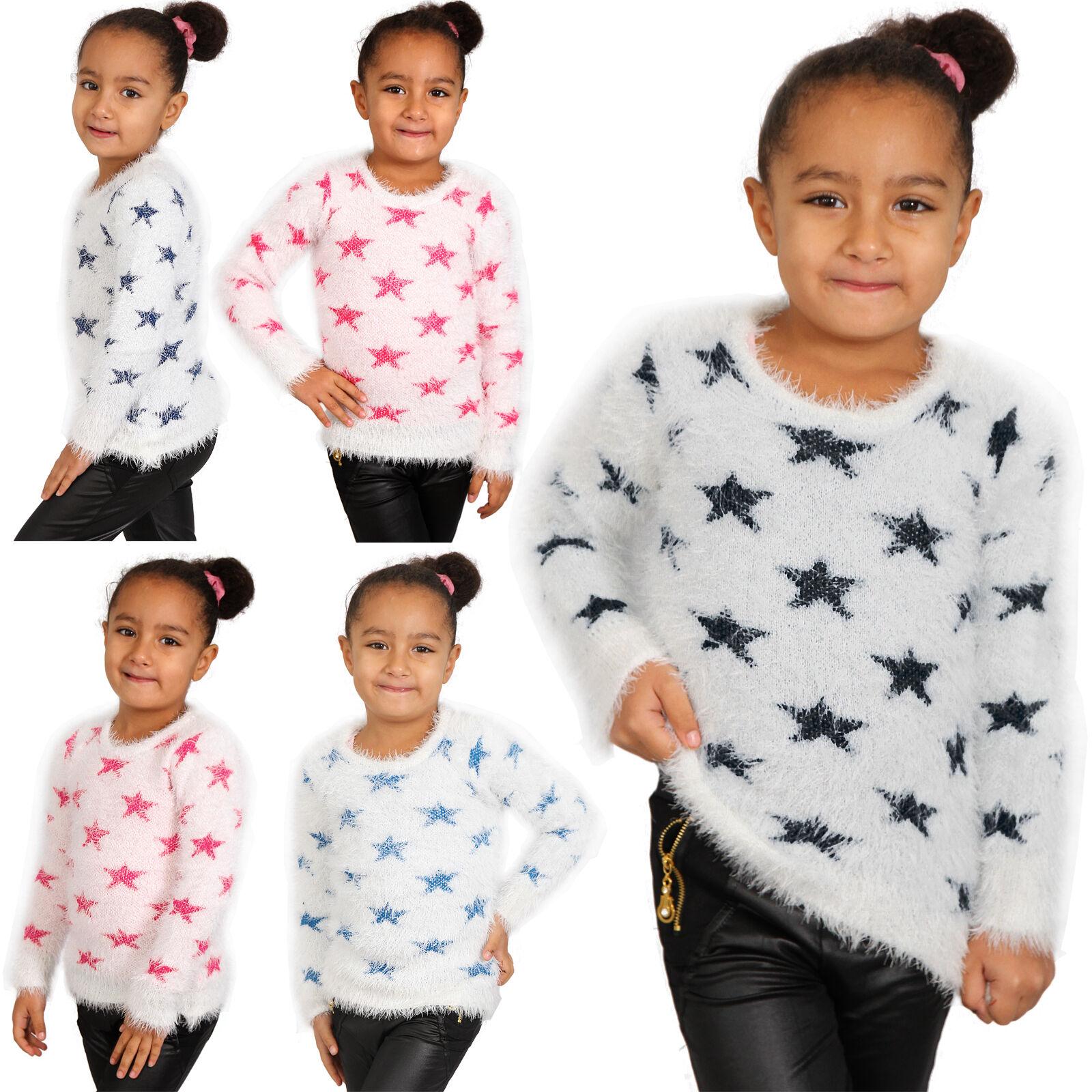 Kinder Kuschel Strick Pulli Stern Baby Mädchen Winter Sweat Shirt Sterne Weiß 01