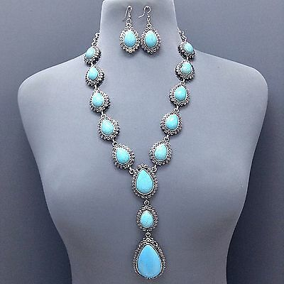 Antique Silver Turquoise Stone Tear Drop Shape Pendant Necklace With Earrings