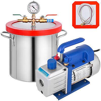 4 Cfm Vacuum Pump 2 Gallon Vacuum Chamber Expoxy  Degassing 1720rpm 11060hz
