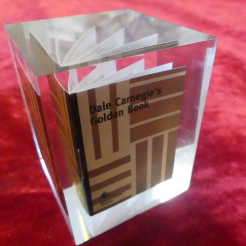 Dale Carnegie Miniature Golden Book Paperweight Clear Acrylic