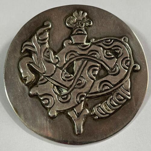 Spratling Quetzalcoatl Silver Brooch Serpent Signed Vintage Jewelry Mexico
