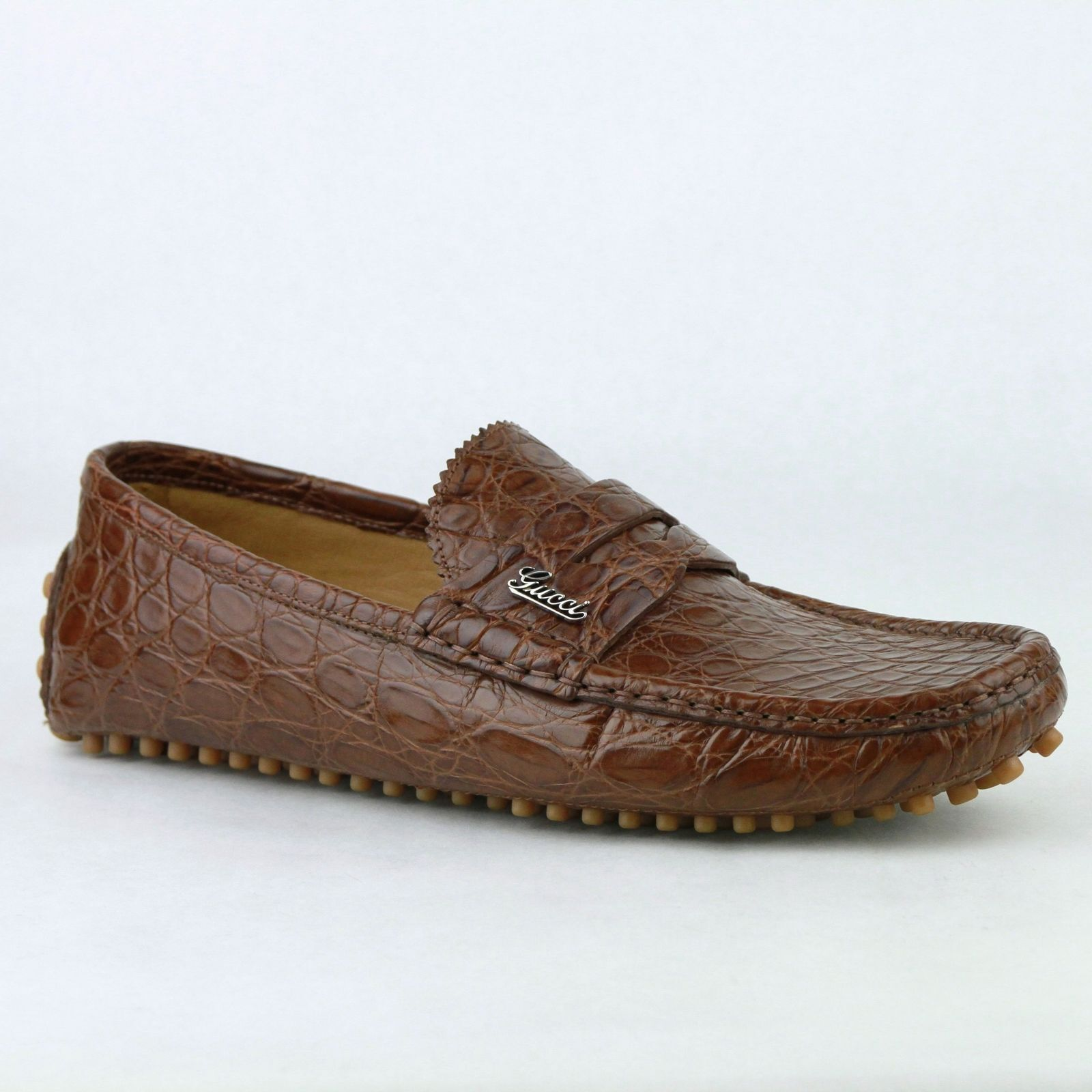 Gucci Brown Crocodile Leather Loafer Shoes wGucci Emblem 373254 2535