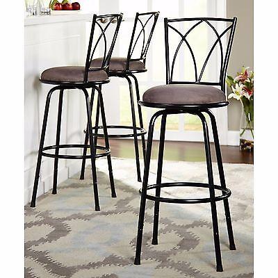 Bar Stool Stools 3 Pc Set Swivel Chair Chairs Pub Breakfast Counter Padded Seat