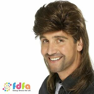1980s BROWN SHORT MULLET WIG - one size fits most - mens fancy dress