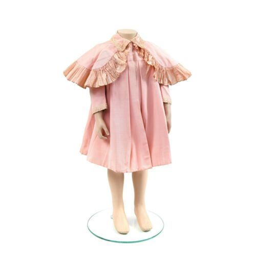 Vintage 1900s Girls Pink Silk Edwardian Mini Cape A Line Antique Dress Coat 4
