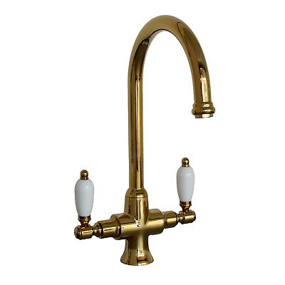 ENKI Dual Flow Kitchen Sink Mixer Tap Twin Lever Gold DORCHESTER