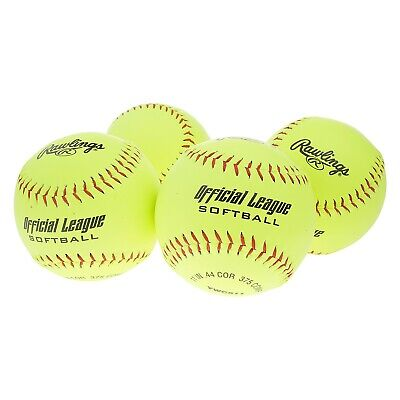 NEW - RAWLINGS Softballs 4 pack, 11 In .44 Cor 375 Comp YWCS11