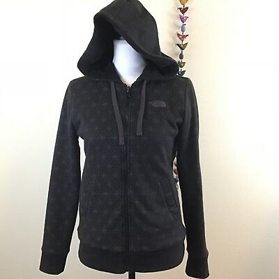 The North Face Shout Out Reversible Full Zip Hoodie Sweatshirt Black Gray Size S
