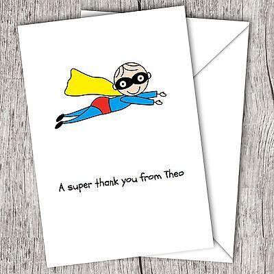Personalised Boys/Children's/Kids ~ Folded THANK YOU Cards ~ SUPERHERO](Superhero Thank You Cards)