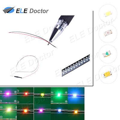 10 50 100 1000pcs Dc9-12v 0402 0603 0805 1206 Smd Led Pre-wired White Red Blue