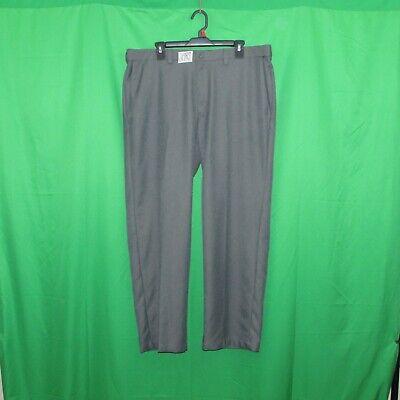 Haggar men's dress pants size 38x30, polyester, gray flat front, waist extenders