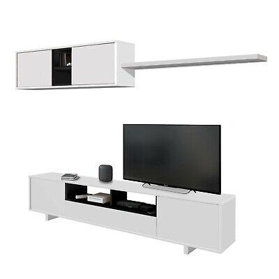 Mueble de comedor salon moderno libreria salón tv, Blanco y Antracita, Belus