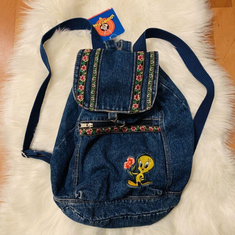 NWT Looney Tunes Tweety Denim Backpack Vintage Retro