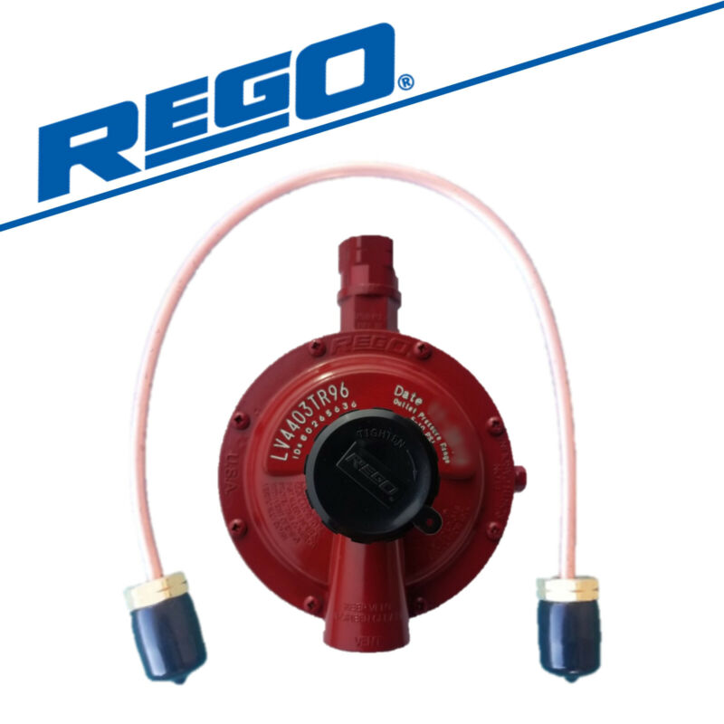 """Rego 1st Stage Propane Regulator -LV4403TR96- with 20"""" POL Installation Pigtail"""