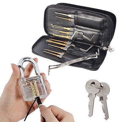 US 24x Unlocking Lock Pick Set Key Extractor Tools Transparent Practice Padlocks