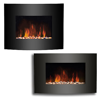 New Wall Mounted Electric Fire Fireplace Black Curved Glass Heater Flame Effect
