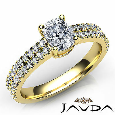 Cushion Shape French Pave Set Diamond Engagement Ring GIA Certified G VS1 0.8Ct