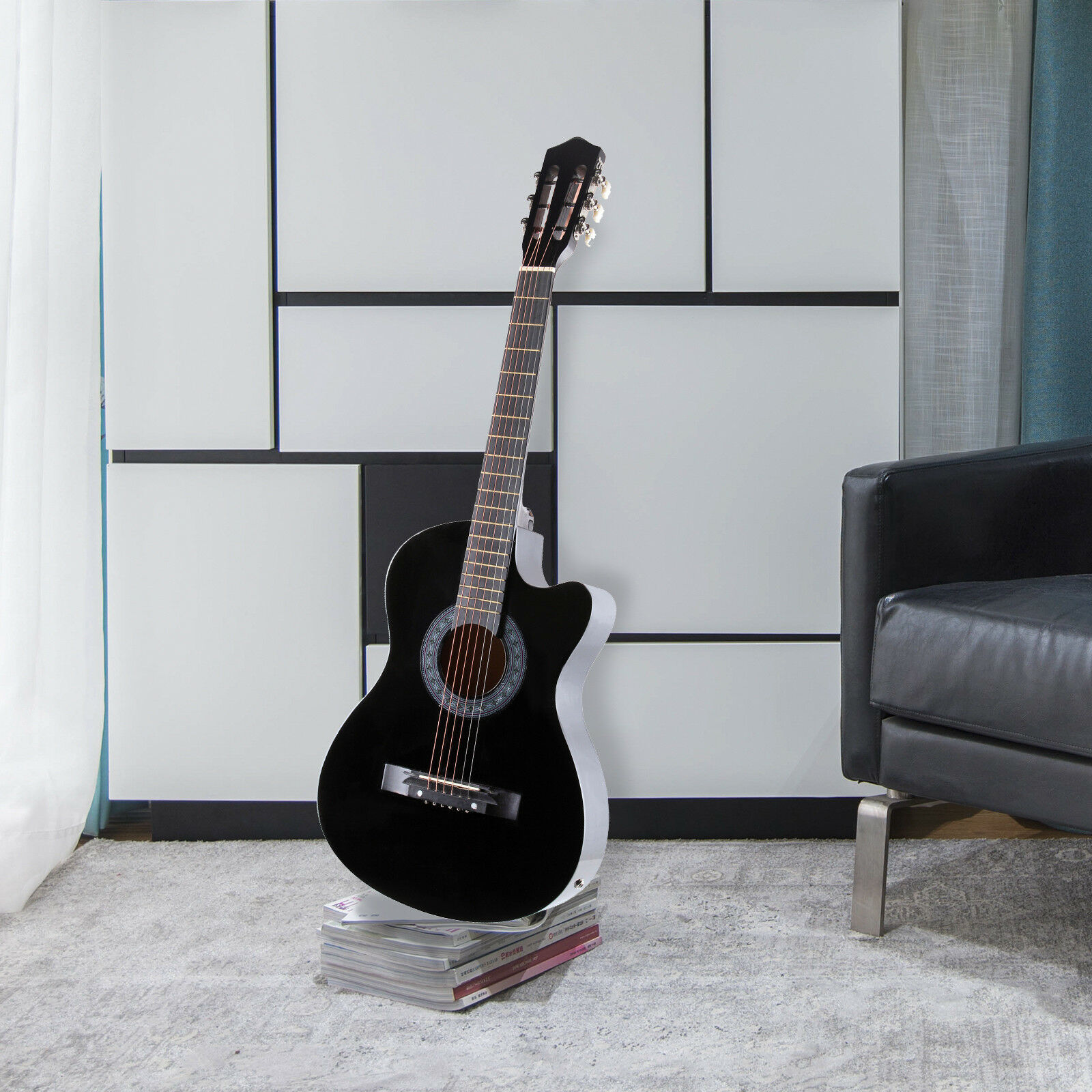 38 electric acoustic guitar cutaway design with guitar case strap tuner black 699985406695 ebay. Black Bedroom Furniture Sets. Home Design Ideas