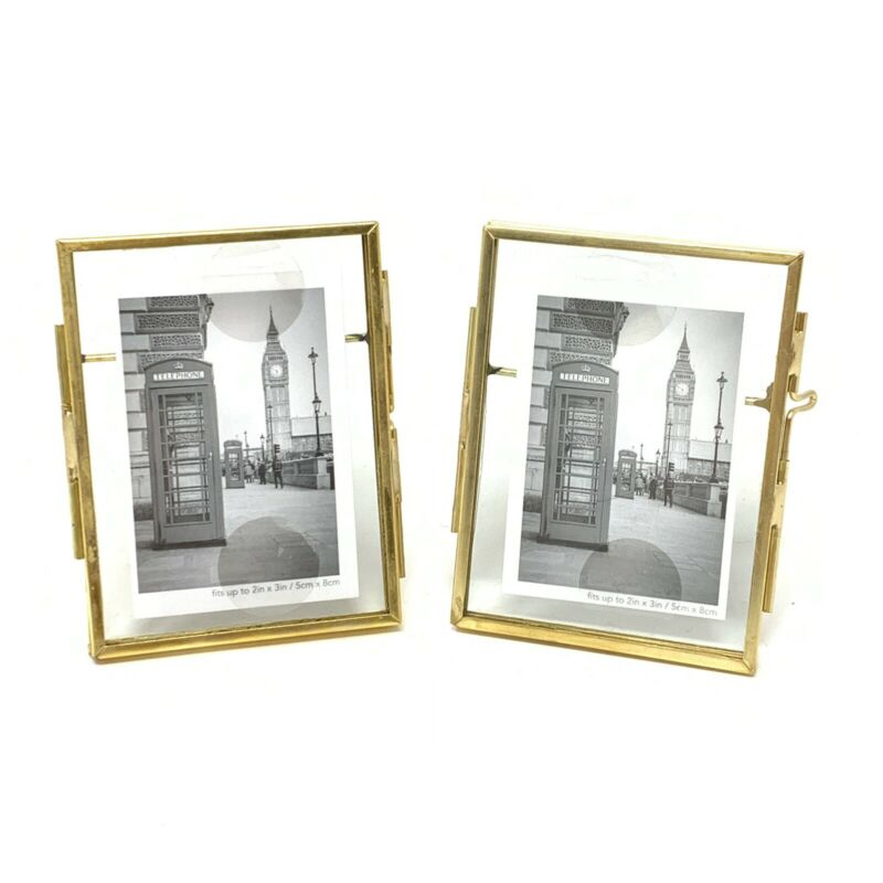 Isaac Jacobs 2x3 Antique Gold Latch Window Picture Frame Set of 2