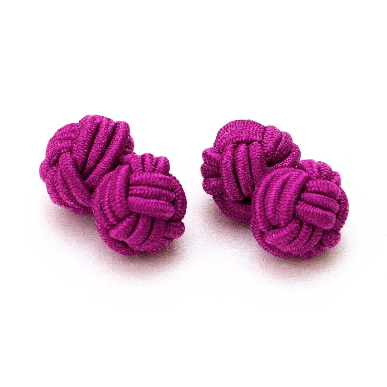 1 Paar Seidenknoten Manschettenknöpfe Knötchen dunkles pink, pink Gentleman Stil