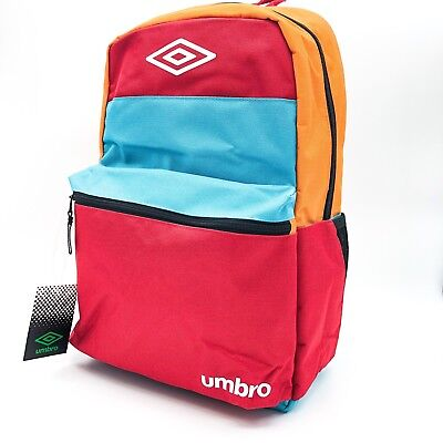 275d3c435 Umbro Block Bag Backpack • Red, Orange, Light Blue, & Black • Laptop Sleeve  NWT!