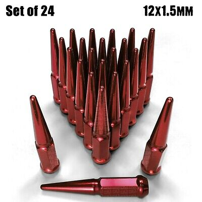 Long Spike Lug Nuts 12x1.5 Fit Colorado Tacoma FJ Silverado H3 Trailblazer Red