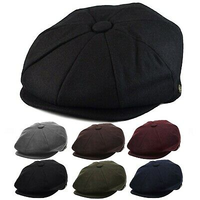 Men's Wool Newsboy Hat, Plain Applejack Gatsby Driving Cap