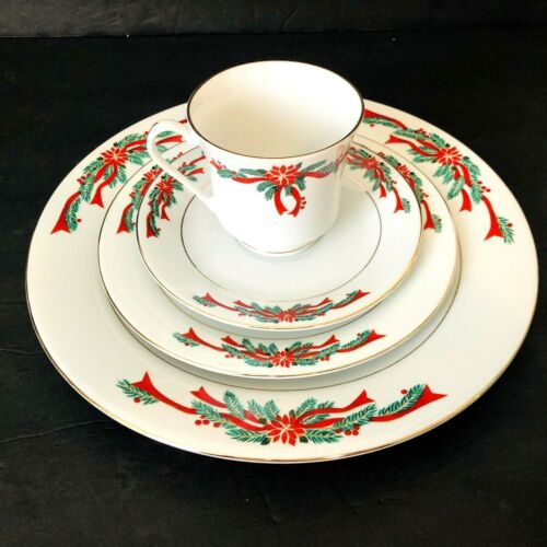 ONE 4 piece Poinsettia & Ribbons CHRISTMAS Holiday Fine China Place Setting