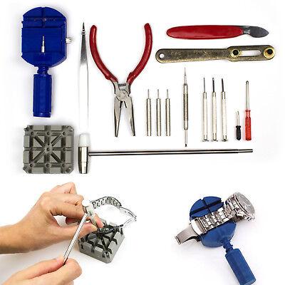 16 pcs Watch Repair Tool Kit Set Link Remover Spring Bar Case Opener Screwdriver