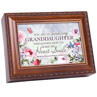 Granddaughter My Heart Smile Woodgrain Rope Trim Music Box Plays Amazing Grace