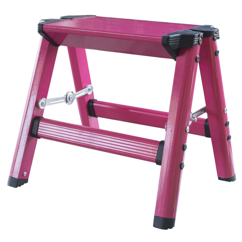 AmeriHome STL1APNKBX Lightweight Single Step Aluminum Step Stool - Bright Pink