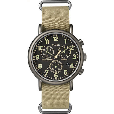 Timex-Weekender-Chrono-Oversized---Tan-Nylon-Strap-Black-Dial---Casual-Watch