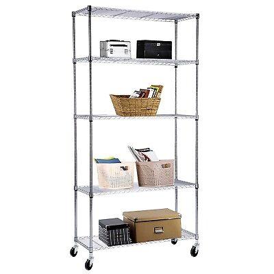 5 Tier Shelving Rack 60x30x14 Chrome Wire Heavy Duty Steel Shelf Adjustable
